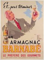 Poster advertising Armagnac Barnabe, printed by Da