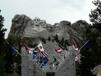 Mount Rushmore with Flags