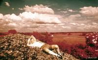 Romantic vintage Boy dreaming on hill