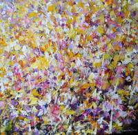 Flower painting executed with acrylic on canvas
