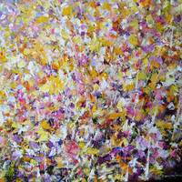 """Flower painting executed with acrylic on canvas"" by Mario Zampedroni"