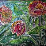 """PARROT TULIPS BATIK ABSTRACT"" by MBaldwinFineArt2006"