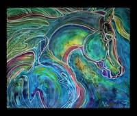 EMERALD EYES EQUINE BATIK on CANVAS M BALDWIN ORIG