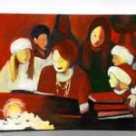 """Children singing Carols with Piano Teacher"" by Pamla"