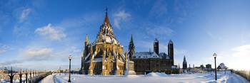 Panoramic of Library of Parliament in Ottawa