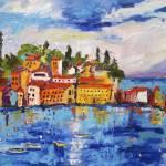 """""""Sestri Levante Baia del Silenzio Italy Oil"""" by GinetteCallaway"""