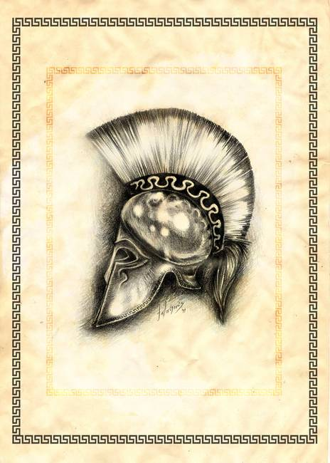 Ancient Greek Hoplite War Helmet by Tony Thalassinos  Athens  GreeceGreek War Helmet Drawing
