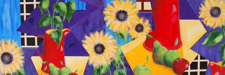Red Jug and Sunflowers