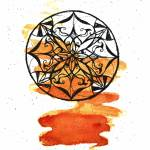 """Orange and Black Mandala"" by PrettyLady"