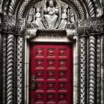 """Red church door in Midtown Manhattan"" by dennisherzog"