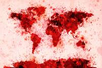 World Map Paint Splashes Red