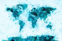 World Map Paint Splashes Blue