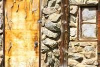 Old Wood Door Window and Stone