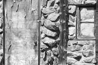 Old Wood Door Window and Stone BW