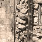 """Old Wood Door Window and Stone Sepia  BW"" by lightningman"