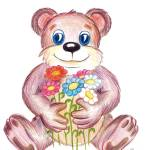 """Bear with flowers"" by NewArtLine"