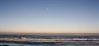 Newport Oregon Ocean Beach With Moon