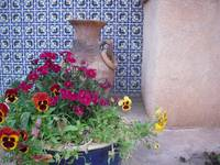 Blue Mosaic Tile, with pot and flowers