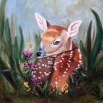 """Fawn Innocence Original Oil Painting"" by bmthour"