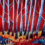 """Crimson Birch Trees"" by ElizaArt"