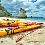 """Kayaks_at_Cathedral_Cove_HDR"" by kevinbanks"