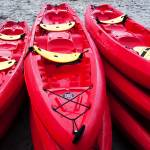 """Red Kayaks"" by RobinCowles"