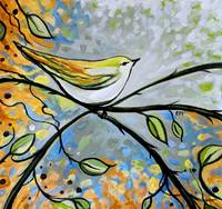 Yellow Bird Among Sage Twigs