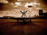Sepia Fighter Plane on Runway