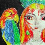 """Girl with parrot"" by japitman"