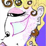 """woman sketch face pink brush"" by laughinggardendesigns"