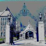 """Hull Court Gate - University of Chicago"" by LeonSarantosArtist"
