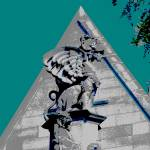 """Gargoyle at Cobb Gate - University of Chicago"" by LeonSarantosArtist"