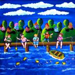 """Children Fishing Fun Folk Art"" by reniebritenbucher"
