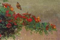 butterflies and red roses