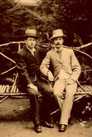 Dandies on a bench (ambrotype), ca 1870
