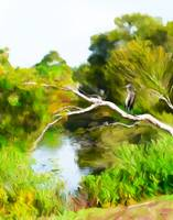 Landscape with heron