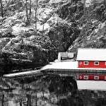 """Red Boathouse In Winter"" by paulcausie"