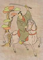 Japanese Samurai warrior with sword on horseback