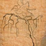 """heron crane flying with tree"" by patrimonio"