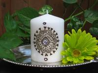 White Hennaed Candle