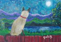 Siamese Cat in the Moonlight