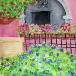 """Bougainvilla and Geraniums"" by debbiepaints"
