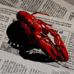 """Crawfish on Newsprint"" by carriewallerart"