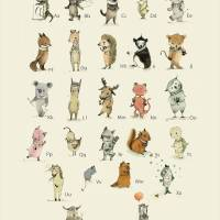 """Children wall art, ABC, Animals Alphabet-"" by PaolaZakimi"