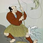 """Japanese fisherman fishing catching trout fish"" by patrimonio"