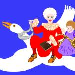 """Mother Goose On Her Flying Goose"" by mariancates"