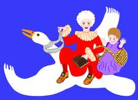Mother Goose On Her Flying Goose