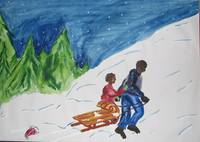 Father and Child Sledding