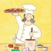 Pizza Chef Art Prints & Posters by Michele Katz