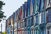 Colorful Row of House Facades